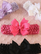 red, purple, white and black bows