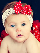 red bow on white crochet headband